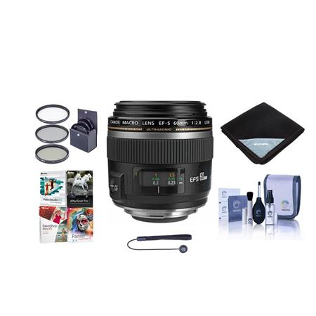 "Canon EF-S 60mm f/2.8 Compact Macro AutoFocus Lens - USA - Bundle With 52mm Filter Kit (UV/CPL/ND2), Lens Wrap (15x15""), Cleaning Kit, Lens Capleash II - With Pro Software Package (Includes Corel PaintShop Pro X7, Corel AfterShot Pro 2, Nuance OnmiPage 18, FileCenter Standard 7)"