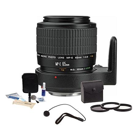 Canon MP-E 65mm f/2.8 1-5x Macro Photo Manual Focus Telephoto Lens Kit, USA with 58mm Photo Essentials Filter Kit, Lens Cap Leash, Professional Lens Cleaning Kit,