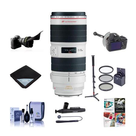 Canon EF 70-200mm f/2.8L IS II USM AutoFocus Telephoto Zoom Lens - USA - Bundle With 77mm Filter Kit (UV/CPL/ND2), Cleaning Kit, LensPen Lens Cleaner, Manfrotto MMC3-01 Monopod, Black