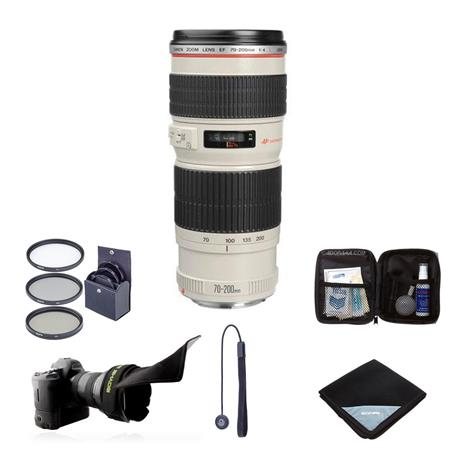 Canon EF 70-200mm f/4L USM AF Lens Kit, USA with 67mm Filter Kit (UV/CPL/ND2), Lens Cap Leash, Lens Wrap (19x19), Camera/Lens Rain Cover, Professional Lens Cleaning Kit
