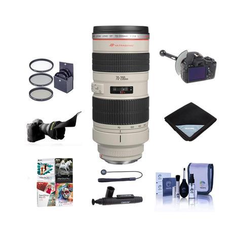 Canon EF 70-200mm f/2.8L USM AF Lens Kit, USA - with 77mm Photo Essentials Filter Kit, FocusShifter DSLR Follow Focus & Rack Focus, Flex Lens Shade, Bogen Monopod, Lens Cap Leash, Professional Lens Cleaning Kit