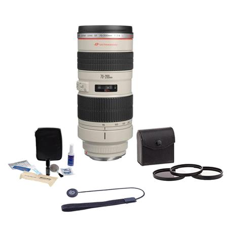 Canon EF 70-200mm f/2.8L USM AF Lens Kit, USA - with 77mm Photo Essentials Filter Kit, Lens Cap Leash, Professional Lens Cleaning Kit