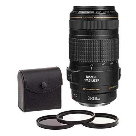 Canon EF 70-300mm f/4-5.6 IS USM Autofocus Telephoto Zoom Lens - USA - Bundle With 58mm Filter Kit (UV/CPL/ND2)
