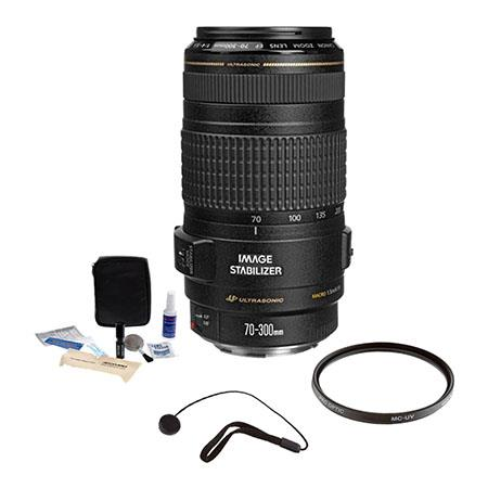 Canon EF 70-300mm f/4-5.6 IS USM Autofocus Lens Kit, USA with Pro Optic 58mm MC UV Filter, Lens Cap Leash, Professional Lens Cleaning Kit