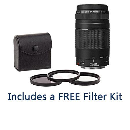 Canon EF 75-300mm F/4-5.6 III Autofocus Telephoto Zoom Lens - USA - Bundle with 58mm Filter Kit (UV/CPL/ND2)
