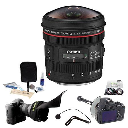 Canon EF 8-15mm f/4.0L USM Wide Fisheye Zoom Lens - Diagonal Angle of View 180 - U.S.A. Warranty - Bundle With FocusShifter DSLR Follow Focus & Rack Focus, New Leaf 3 Year (drops & Spills) Warranty, Flex Lens Shade, Cleaning Kit, Lenscap Leash II