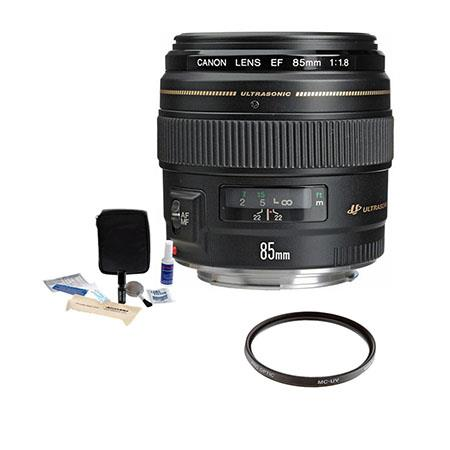 Canon EF 85mm f/1.8 USM AutoFocus Telephoto Lens Kit, with Pro Optic 58mm MC UV Filter, Lens Cap Leash, Professional Lens Cleaning Kit, USA Warranty.
