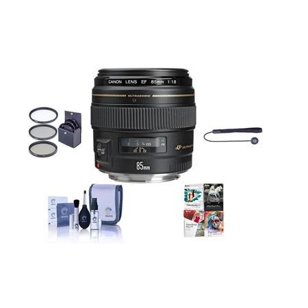 Canon EF 85mm f/1.8 USM AutoFocus Telephoto Lens Kit, with 58mm Filter Kit (UV/CPL/ND2), Lens Cap Leash, Cleaning Kit, With Pro Software Package (Includes Corel PaintShop Pro X7, Corel AfterShot Pro 2, Nuance OnmiPage 18, FileCenter Standard 7)