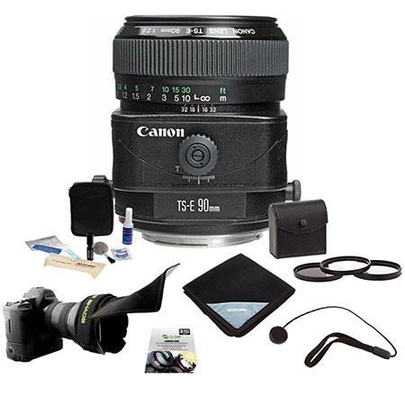 Canon TS-E 90mm f/2.8 Tilt & Shift Manual Focus Telephoto Lens Kit, USA with Tiffen 58mm Photo Essentials Filter Kit, Lens Cap Leash, Professional Lens Cleaning Kit,