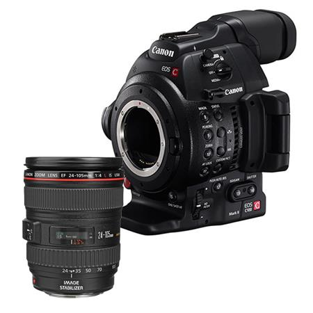Canon EOS C100 Mark II Cinema Camcorder Kit with EF 24-105mm f/4L IS USM Zoom Lens - With Dual Pixel CMOS AF Feature Upgrade
