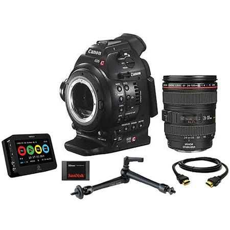 Canon EOS C100 Cinema Camcorder Kit with EF 24-105mm f/4L IS USM Zoom Lens - With Dual Pixel CMOS AF Feature Upgrade & Ninja 2 Recorder, 240GB SSD, HDMI Cable