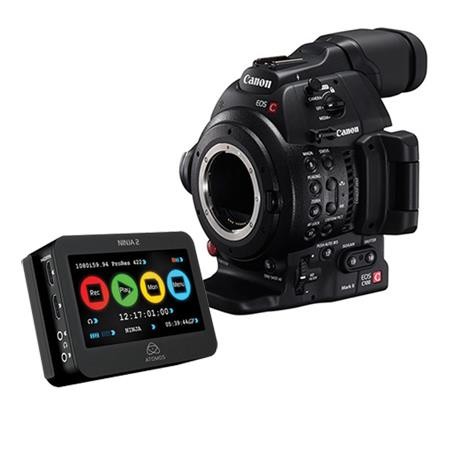 Canon EOS C100 Mark II Cinema Camcorder Body - EF Lens Mount - with Dual Pixel CMOS AF Feature Upgrade, with Atomos Ninja 2 Video Recorder Kit