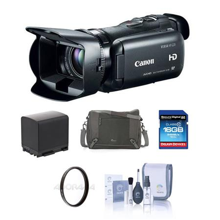 Canon VIXIA HF G20 Full HD Camcorder - BUNDLE - with Camera Case, 16GB SDHC Card, Spare Lithium Battery, 58mm UV Filter, Lens Cleaning Kit