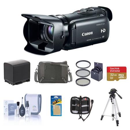 Canon VIXIA HF G20 Full HD Camcorder - BUNDLE - with Slinger Video Case, 32GB SDHC Card, Spare Lithium Battery, Pro-Optic 58mm Filter Kit , Lens Cleaning Kit, Sunpack Tripod, SD Card Case, Screen Protector