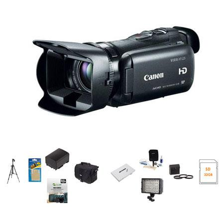 Canon VIXIA HF G20 Full HD Camcorder - BUNDLE - with Slinger Video Case, 32GB SDHC Card, Spare Lithium Battery, Newleaf 5 Year Extended Warranty, Flashpoint 126LED Video Light, Pro-Optic 58mm Filter Kit , Lens Cleaning Kit, Sunpack Tripod, SD Card Case, Screen Protector