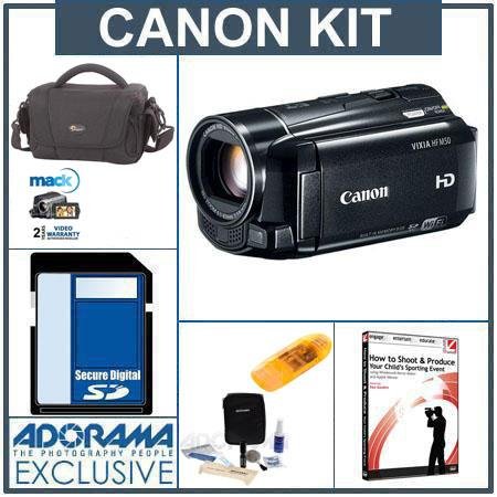 Canon VIXIA HF M50 High Definition 8GB Internal Flash Memory Camcorder - Bundle - with 16GB SD Memory Card, Camcorder Case, Digital Lens Cleaning Kit,USB 2.0 SD
