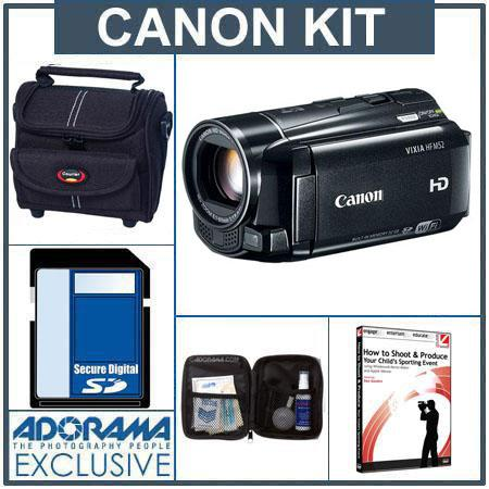 Canon VIXIA HF M52 High Definition 32GB Internal Flash Memory Camcorder - Bundle - with 16GB SD Memory Card, Camcorder Case, Digital Lens Cleaning Kit, Class On