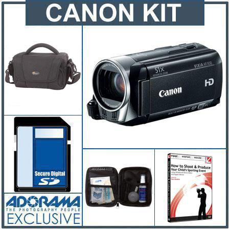 Canon VIXIA HF R30 High Definition 8GB Internal Flash Memory Camcorder - Bundle - with 16GB SDMemory Card, Camcorder Case, Digital Lens Cleaning Kit, Class On D