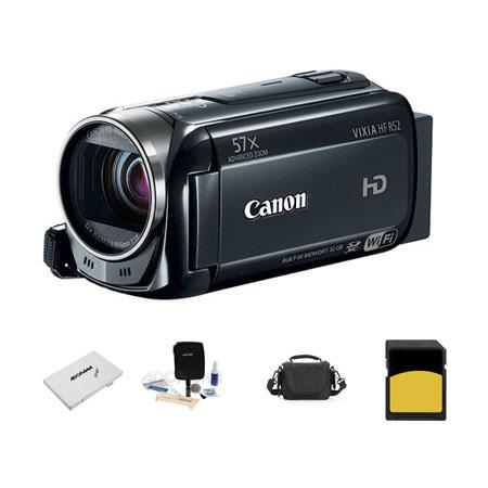 Canon VIXIA HF R52 1080p Full HD Camcorder, 3.28MP, - Bundle With LowePro Carrying Case, 16GB 16 SDHC Memory Card, Cleaning Kit, Card Case