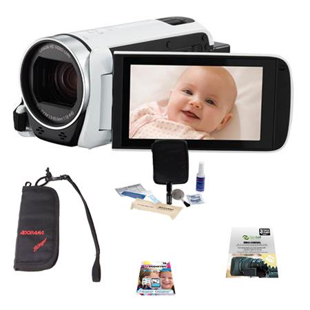 Canon VIXIA HF R600 Camcorder, 57x Optical Zoom, White - Bundle With 16GB Class 10 SDHC Card, New Leaf 2 Year (Drops & Spills) Warranty, Cleaning Kit, Memory Wallet