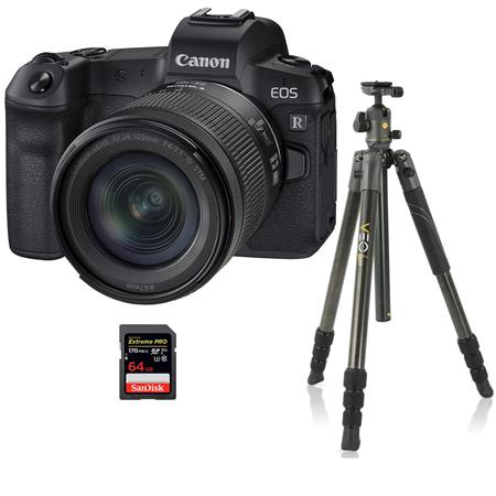Canon EOS R Mirrorless Digital Camera with Canon RF 24-105mm F4 L IS Lens - Bundle With Vanguard VEO 2 264CB 26mm 4-Sec...