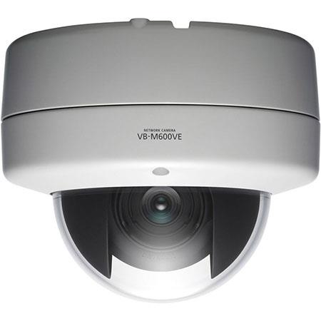 Canon VB-M600VE Fixed Vandal-Resistant Network Dome Camera, 1.3MP, 3x Optical Zoom, IR Cut Filter, 2-Way Audio