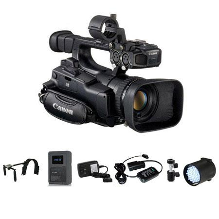 Canon XF-100 High Definition Professional Camcorder - Deluxe Bundle - with Switronix Shoulder Mount, Switronix XP-L90S V Mount Brick Battery, Switronix Power Tap Charger, Switronix TL-50 Dimmable On Camera LED Light, Light Stand Adapter, 20