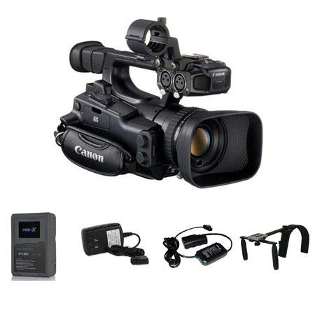"Canon XF-105 High Definition Professional Camcorder - Bundle - with Switronix XP-L90S 14.4V 6.3Ah Battery, Charger, Switronix 20"" Powertap Adapter Cable, and Switronix Shoulder Support"