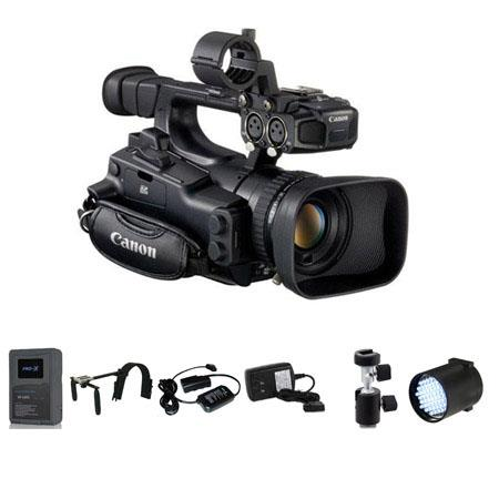 Canon XF-105 High Definition Professional Camcorder - Deluxe Bundle - with Switronix Shoulder Mount, Switronix XP-L90S V Mount Brick Battery, Switronix Power Tap Charger, Switronix TL-50 Dimmable On Camera LED Light, Light Stand Adapter, 20