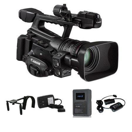"Canon XF-300 High Definition Professional Camcorder - Bundle - with Switronix XP-L90S 90wh Li-ion V Mount Battery, Charger, 20"" Powertap Cable, Switronix HDV PRO Camera Shoulder Support"