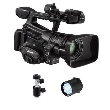 Canon XF-300 High Definition Professional Camcorder - Bundle - with Switronix TL-50 50w DC LED On-Camera Light Dimmable, Light Stand Adapter