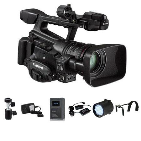 "Canon XF-300 High Definition Professional Camcorder - Bundle- with Switronix Shoulder Mount, Brick Style 14.4v 6.3Ah Li-ion Battery, PowerBase Charger, On-Camera DC LED Light Dimmable, 20"" Adapter Cable, Light Stand Adapter"