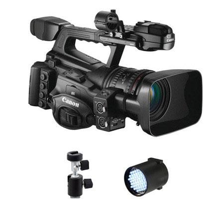 Canon XF-305 High Definition Pro Camcorder - Bundle - with Switronix TL 50 30w Dimmable DC Powered LED Light, Light Stand Adapter