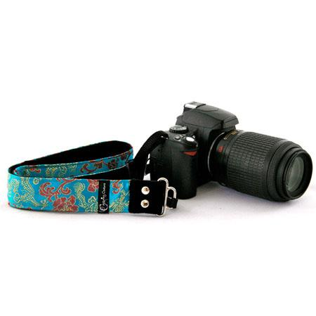 "Camera Straps by Capturing Couture: Silk Collection, The Lotus Spirit 1.5"" SLR/DSLR Camera Strap with Gold Dragons in 100% Silk Brocade Fabric"
