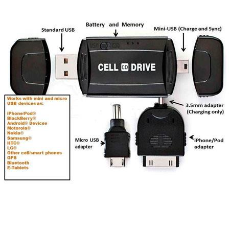 Cell Drive Mobile Charger and 4GB Flash Drive, 13MB/sec Read, 9MB/sec Write Speed