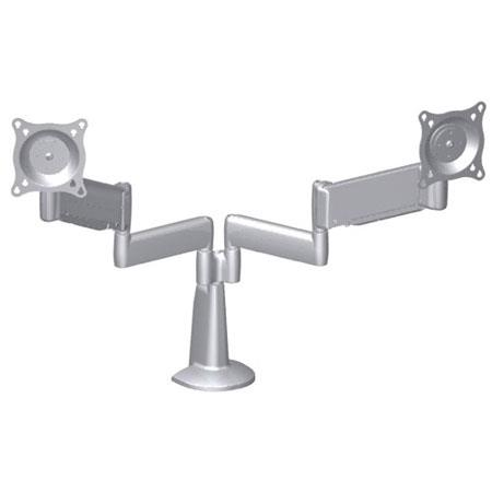 Chief KCY220 Height-Adjustable Dual Arm Dual Monitor Desk Mount, 5-20 lbs Load Capacity, Silver