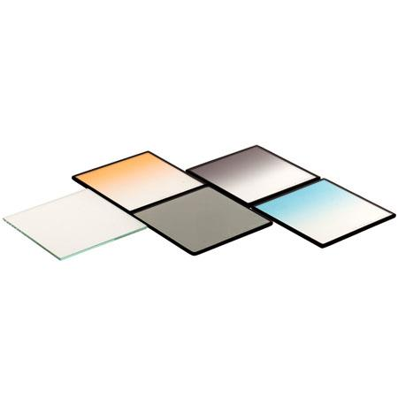 "Cavision 6x6"" Set of Five Glass Filters, Graduated Neutral Density, Graduated Blue, Graduated Orange, Soft Mist Black, Polarizing Filters"