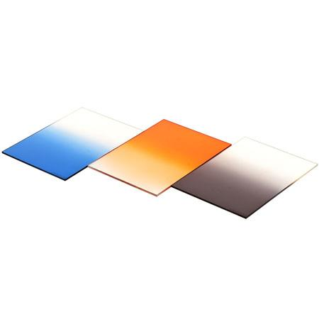 "Cavision 3x4"" Set of Three Resin Filters, Graduated Neutral Density, Graduated Blue, Graduated Orange"