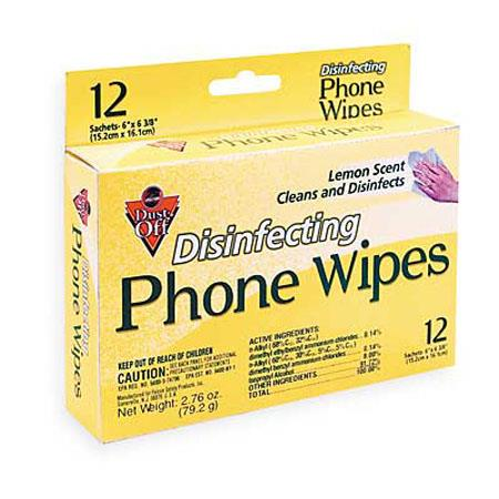 Falcon Pre-moistened Foil Pack of Disinfecting Phone and Office Wipes, 12 Count