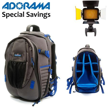 CamRade TravelMate Outbag Hiker Backpack, YKK Zippers, Fits 2-3 DSLR Bodies/6 Lenses/DV or HDV Camcorder - Bundle - with Ledpro X6 Lightweight Compact LED Light with 63 Super White LEDs