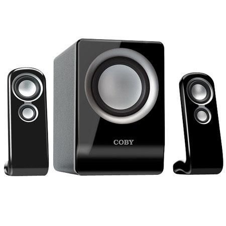 Coby 100W 2.1-Channel Multimedia Speaker System for MP3 Players and Computer Systems, Black image