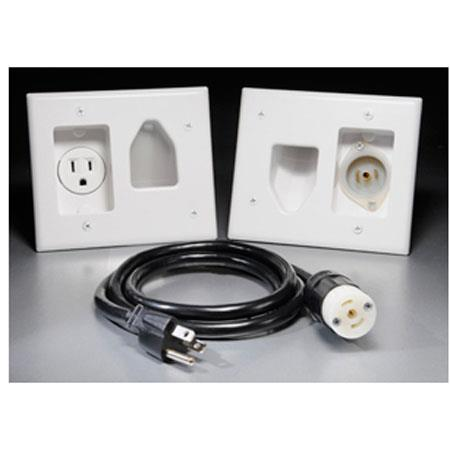 DataComm Electronics 45-0022-WH Recessed Pro-Power Kit with Locking Inlet