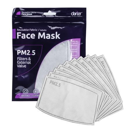 Darter PM2.5 Face Mask Filters for Adults, Blue, 10-Pack