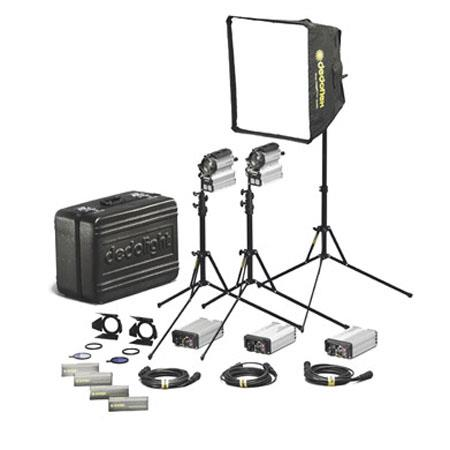 Dedolight Sundance Daylight/Tungsten 3-Light Kit with Soft Light Head, Ballasts, Small Softbox, Barndoors, Light Stands and Bulbs