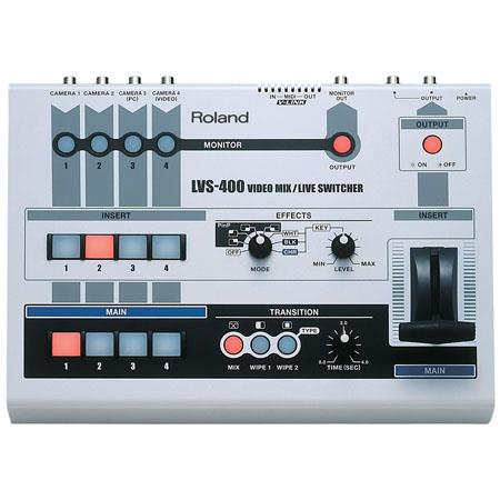 Roland LVS-400 Professional 4 Channel Video Mixer, NTSC or PAL Video Format, 1500mA Current Draw, 75 ohms Impedance