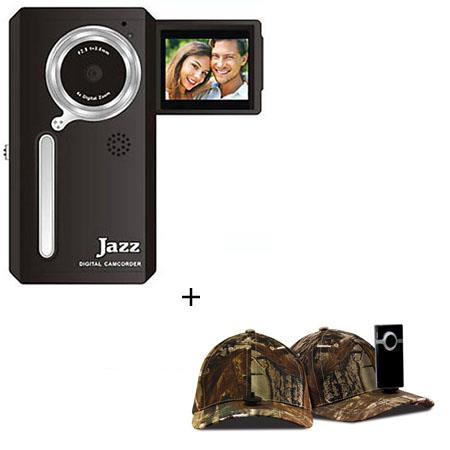 Jazz Pocket DV152 Digital Camera/Camcorder, Bundle - with Hatcam HC10 Hat with Universal Mount, for Hands Free Video Recording - Realtree AP Camouflage