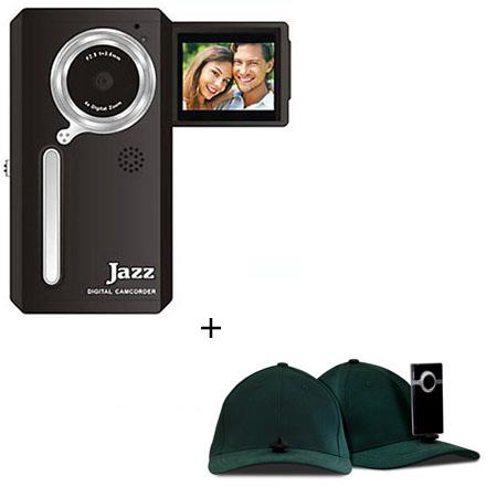 Jazz Pocket DV152 Digital Camera/Camcorder, Bundle - with Hatcam HC10 Hat with Universal Mount, for Hands Free Video Recording - Forest Green