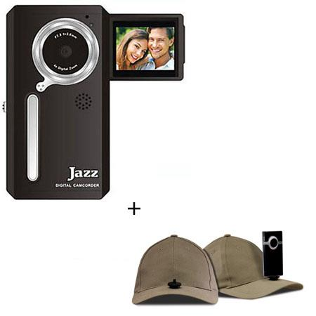 Jazz Pocket DV152 Digital Camera/Camcorder, Bundle - with Hatcam HC10 Hat with Universal Mount, for Hands Free Video Recording - Khaki