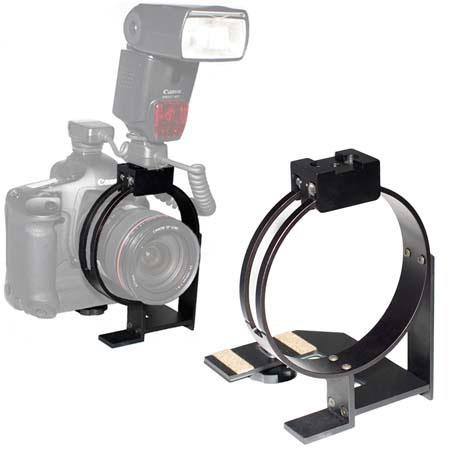 """CAM Engineering Reporter Flash Bracket (Ring Style), Large 4.6"""" ID Rotating Flash Mount for SLR Cameras with a Vertical Grip image"""