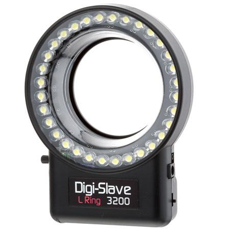 Digi-Slave L-Ring 3200, Powerful, Versatile LED Ring Light with WHITE LED Light, Focusing Light, & Removable Diffuser - Continuous or Flash for Digital Macr